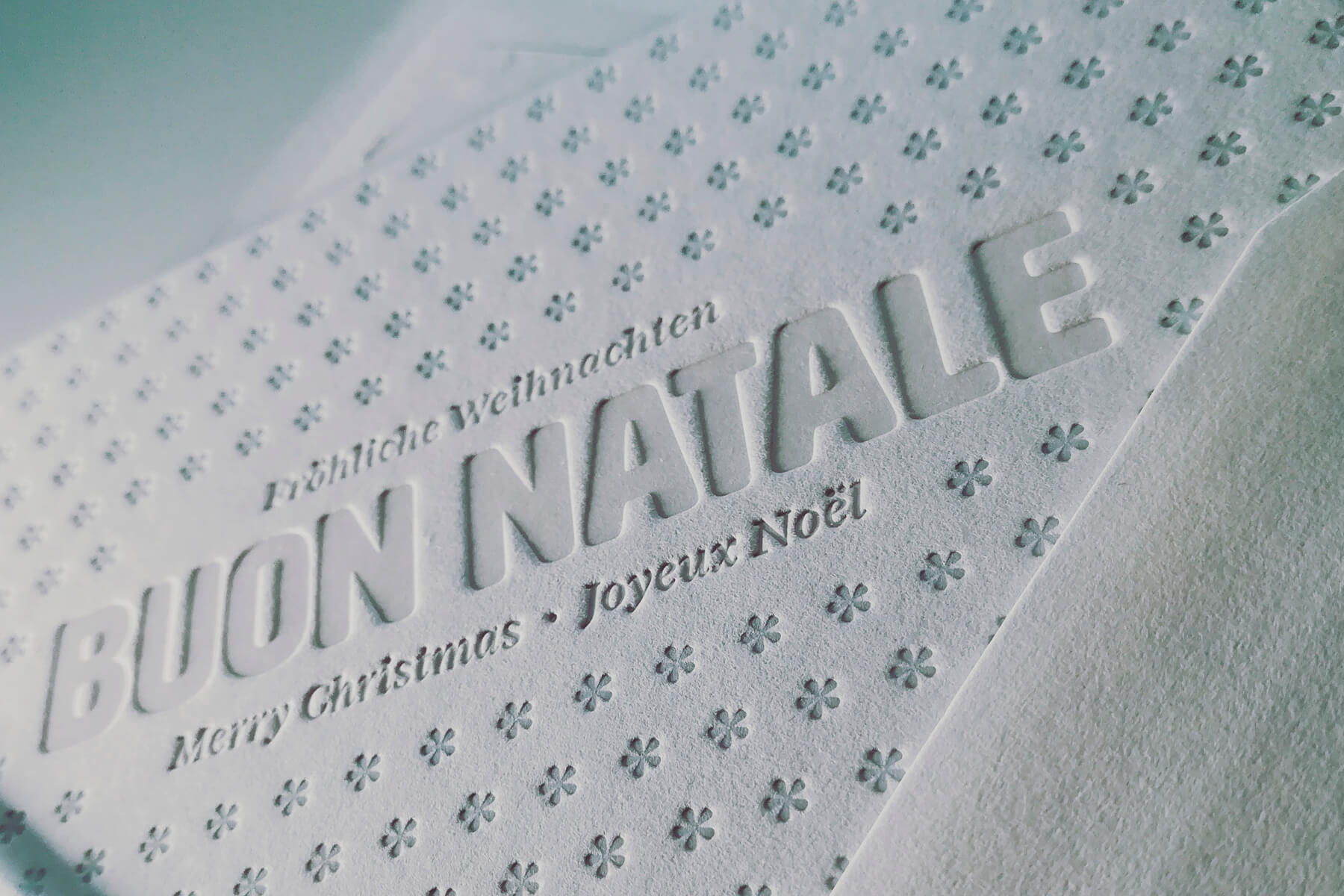 Cartolina di Buon Natale in letterpress