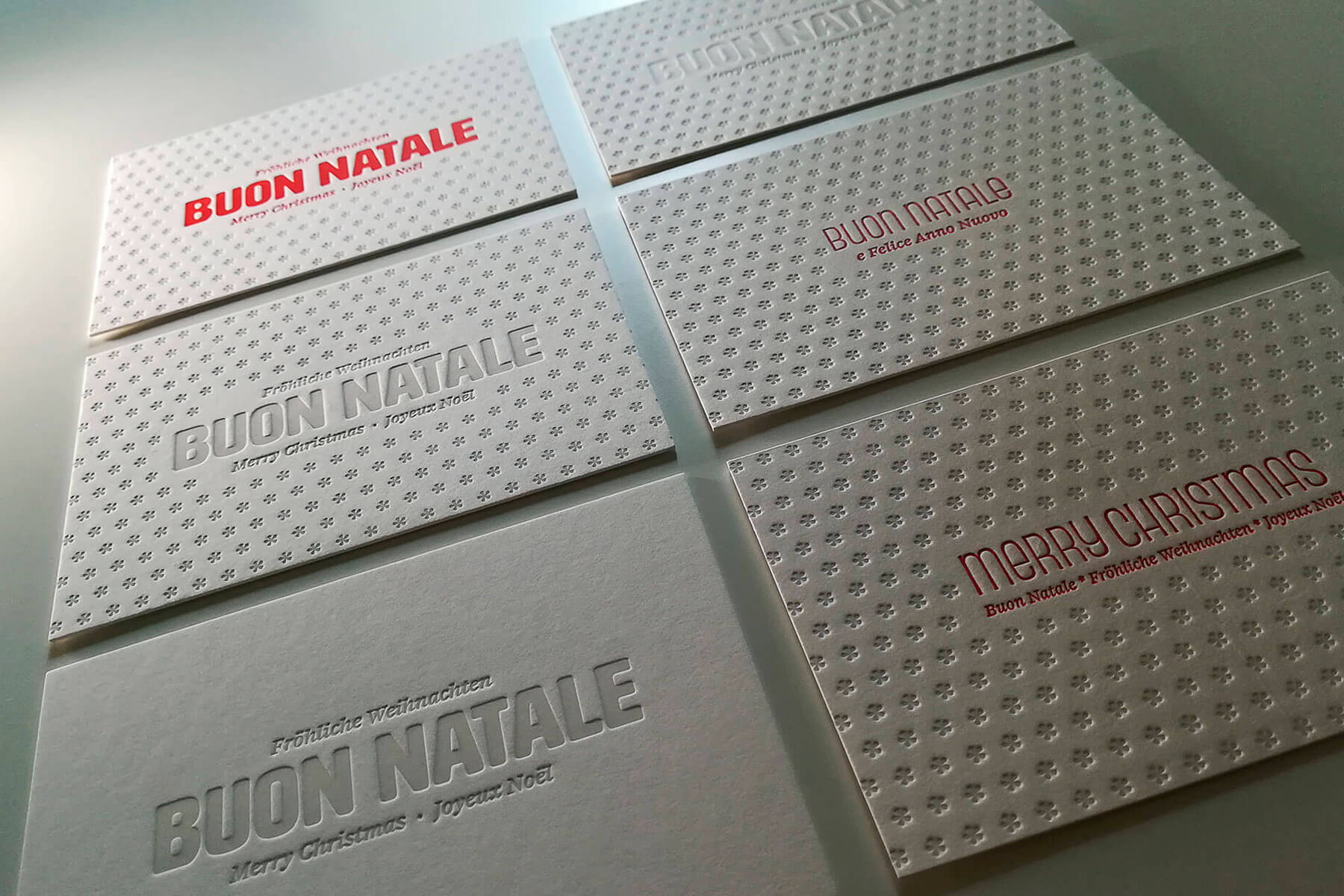 La serie di cartoline in letterpress per gli auguri di Natale