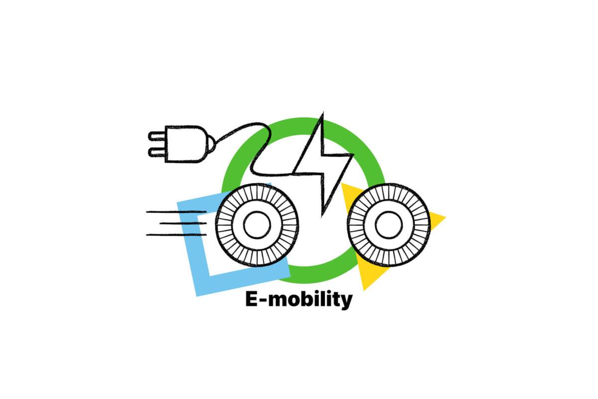 Coman: icona della corrente elettrica, spina e due ruote per identificare la mobilità elettrica